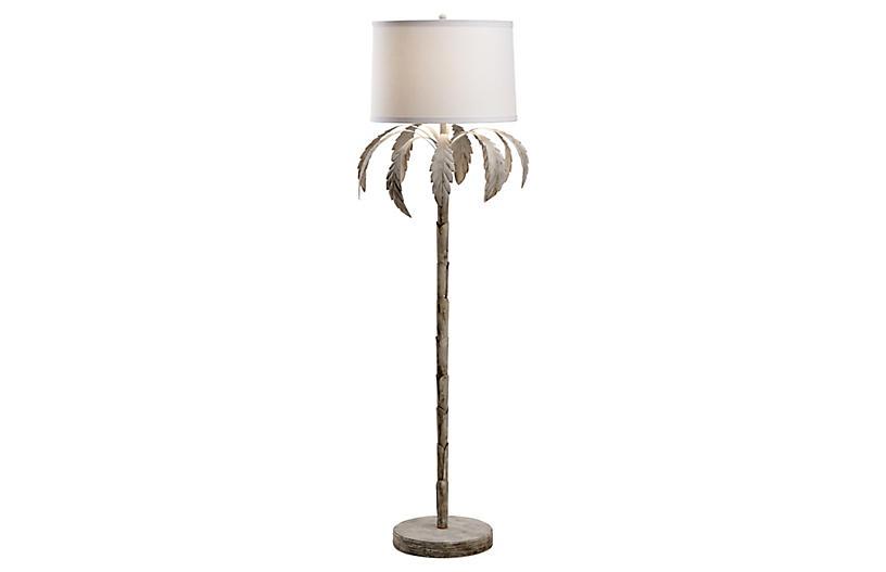 Palm Floor Lamp, Whitewash