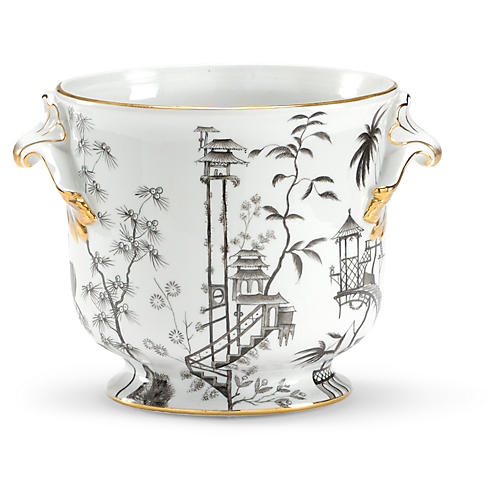 "10"" Chinoiserie Porcelain Planter, White/Black"