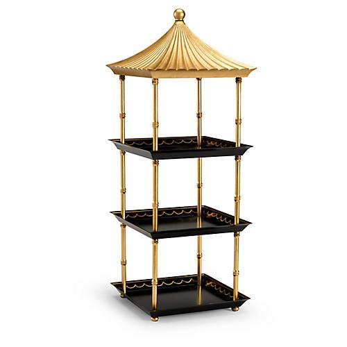 "33"" Pagoda Étagère, Black/Gold"