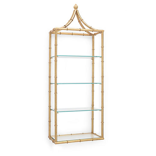 Pagoda Wall Étagère, Gold/Clear