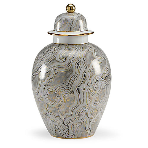 "19"" Marbled Ginger Jar, Gray/Gold"