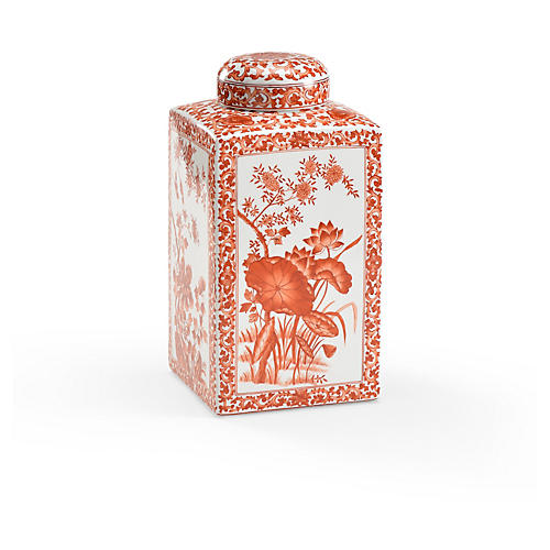 "12"" Lotus Square Tea Caddy, Red"