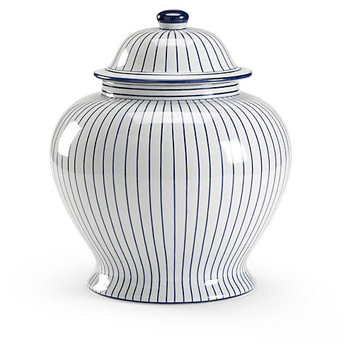 "15"" Castle Ginger Jar, White/Blue"