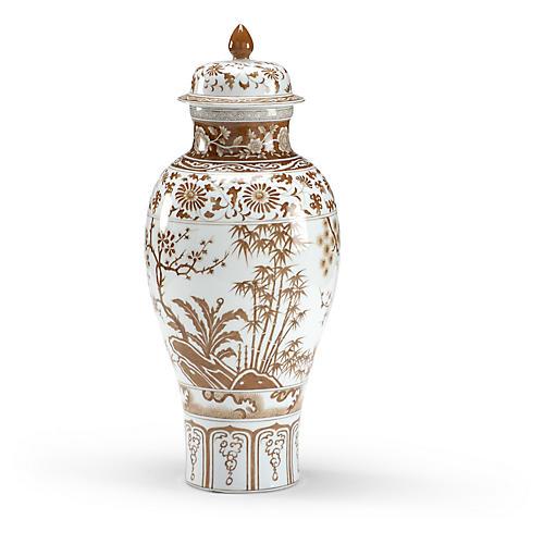 """20"""" Floral Ginger Jar, Nutmeg/White"""