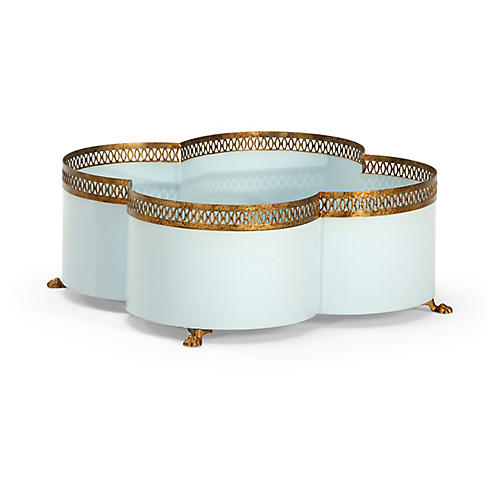 "17"" Tracery Cachepot, Blue/Gold"