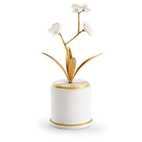 """17"""" Round Flower Accent, White/Gold"""