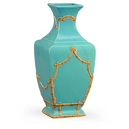 """14"""" Bamboo-Style Vase, Turquoise"""