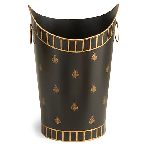 "15"" Bee Wastebasket, Black/Gold"