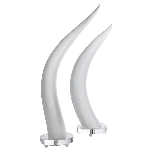 S/2 Faux Horn Accent Pieces, White/Clear