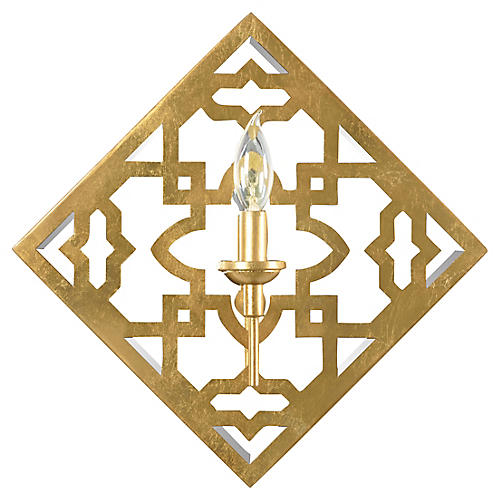 Agadir Allion Sconce, Gold Leaf/Clear