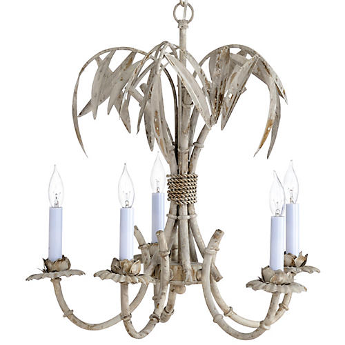 Bamboo Grove 5-Light Chandelier, Whitewashed Gold