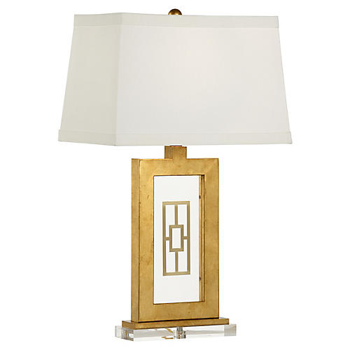 Safford Crystal Table Lamp, Gold/Clear
