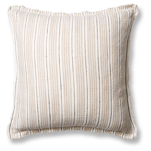 Newport 20x20 Pillow, Natural/Midnight Linen