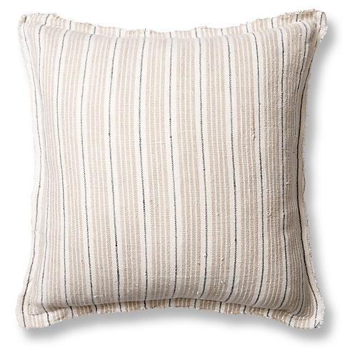 Newport 20x20 Pillow, Natural/Midnight Linen