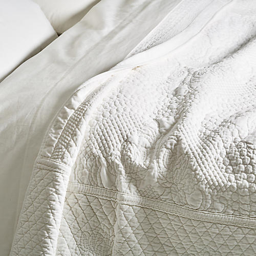 Marseille Coverlet, White