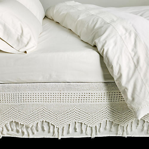 Crochet Bed Skirt, White