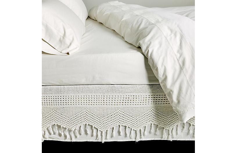 Crochet Bed Skirt, White