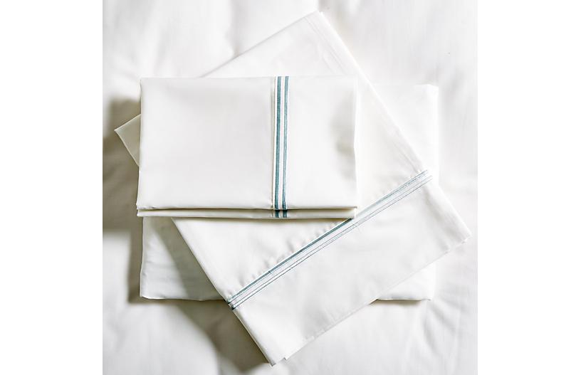 Sateen Sheet Set, White/Ocean