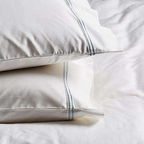 S/2 Sateen Pillowcases, White/Ocean