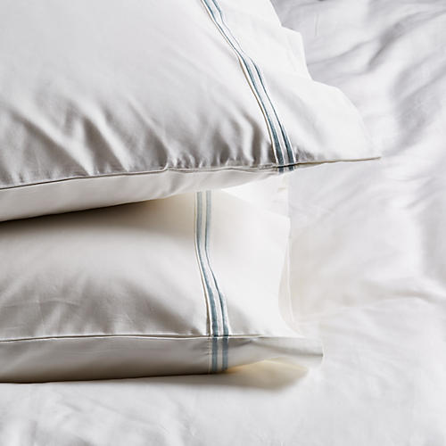 S/2 Sateen Pillowcases, White/Ocean