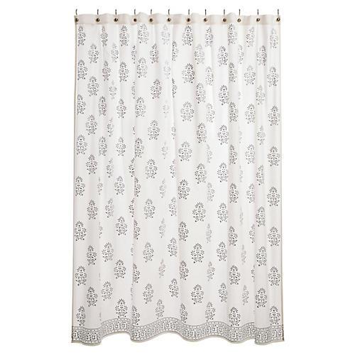Bahaar Shower Curtain, Silver/White