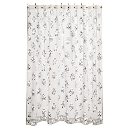 Bahaar Shower Curtain, Silver/White