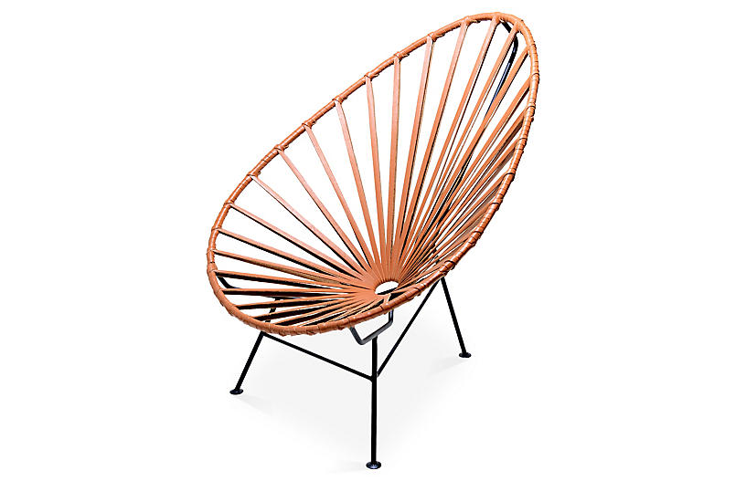 Acapulco Lounge Chair, Camel Leather