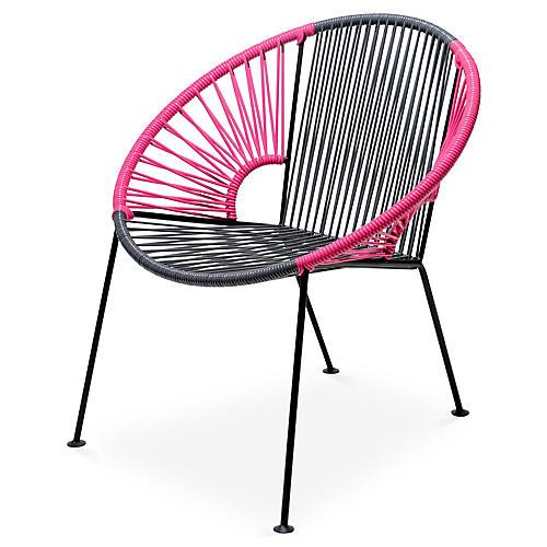 Ixtapa Lounge Chair, Gray/Magenta