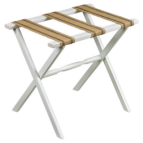 Vivien Luggage Rack, White/Flax