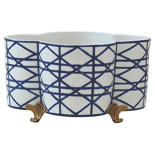 Gazebo Planter, Blue/Gold