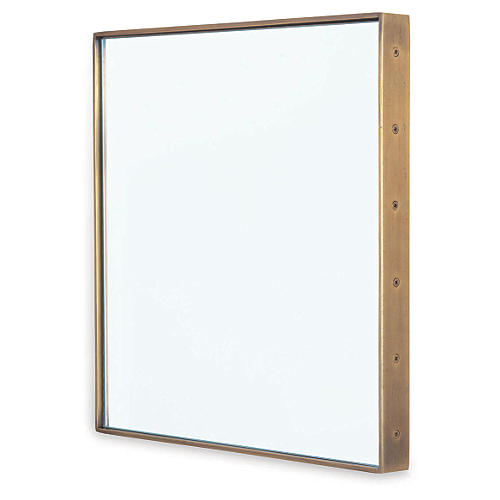 "Patrick 18"" Wall Mirror, Brass"
