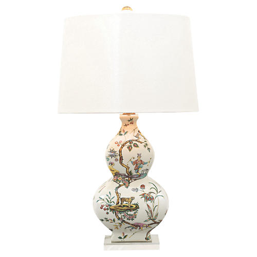 Chinoise Exotique Table Lamp, White