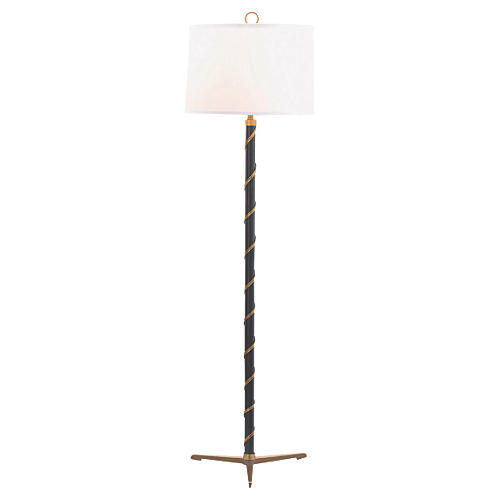 Wilmette Floor Lamp, Black/Brass