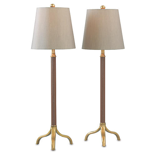 S/2 Portobello Buffet Lamp, Leather