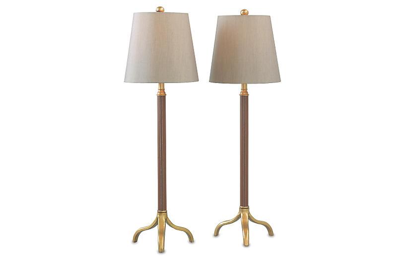 S/2 Portobello Buffet Lamp, Leather