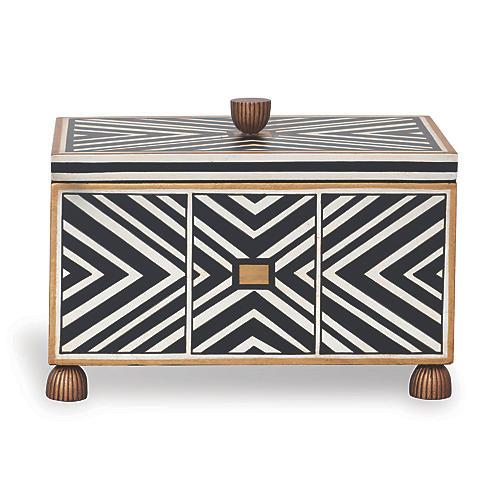 """15"""" Pompano Box, Gold/Black/White"""