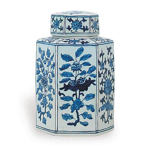 "11"" Four Seasons Jar, Blue/White"