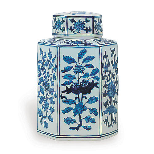 "11"" Four Seasons Jar, Blue/White"