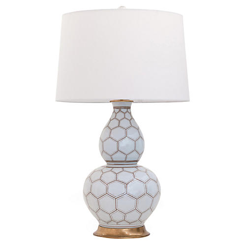 Kenilworth Double-Gourd Table Lamp, White/Brown