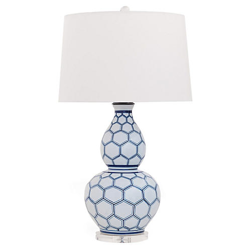 Kenilworth Double-Gourd Table Lamp, White/Blue