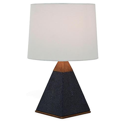 Cairo Table Lamp, Faux-Shagreen Black