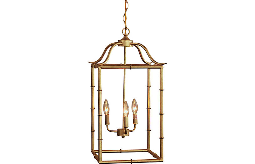 Doheny 3-Light Pendant, Gold Leaf