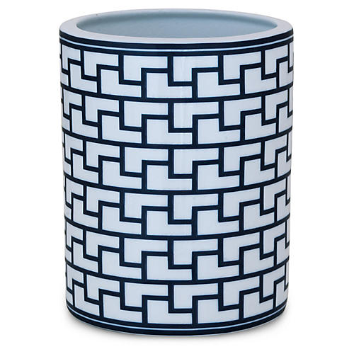 "9"" Paul Geometric Vase, Indigo/White"