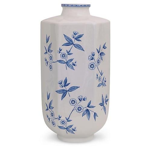 "20"" Temba Vase, Blue/White"