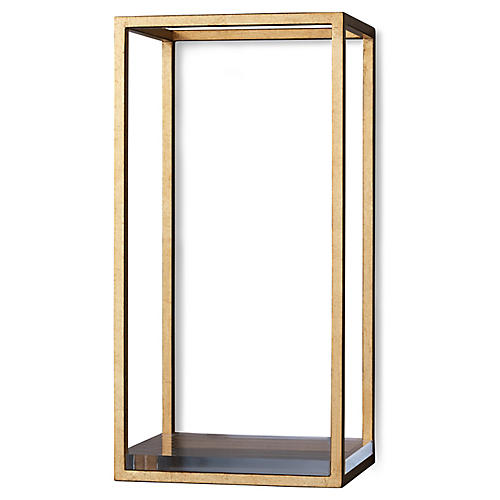 Drake Wall Shelf, Gold/Clear