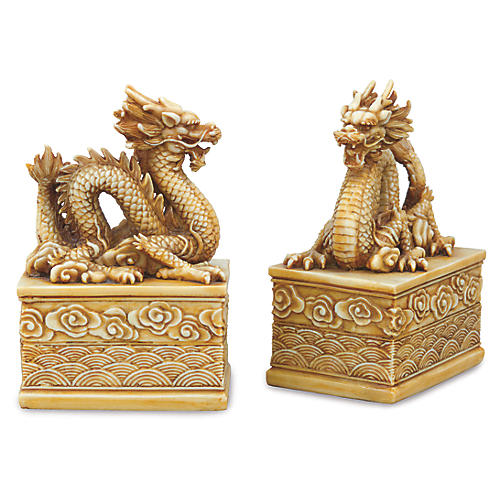 S/2 Dragon Bookends, Antiqued Ivory