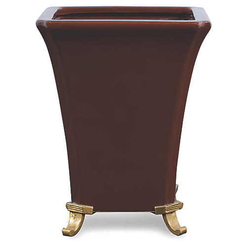 "11"" Glenda Square Planter, Brown/Brass"