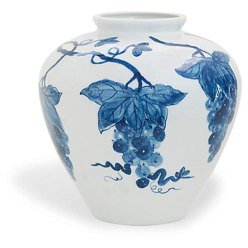 "15"" Napa Vase, Blue/White"