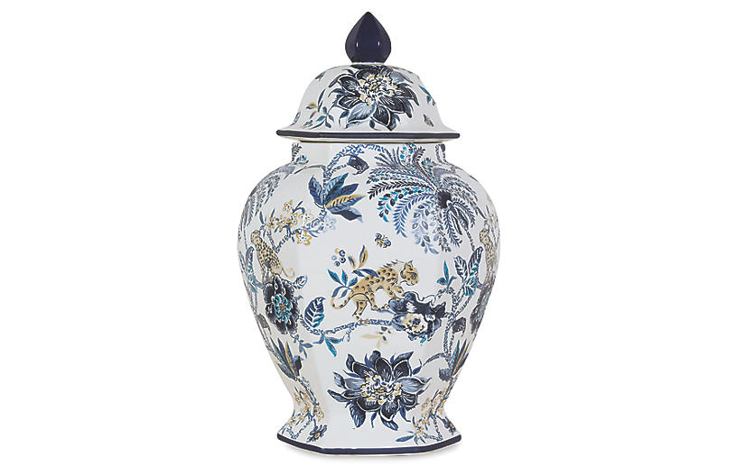 Braganza Jar, Blue/White