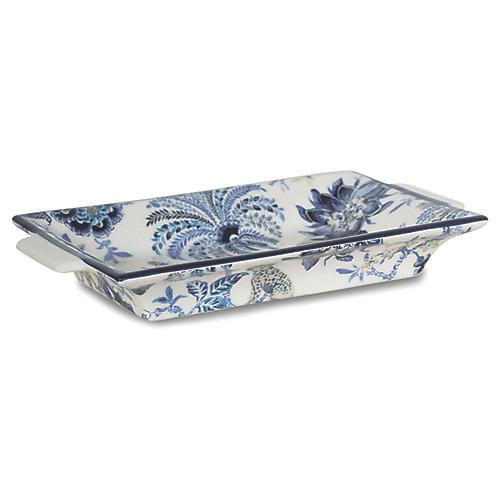 """11"""" Braganza Decorative Tray, Blue/White"""